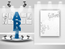 3d art gallery. Ilustration of 3d art gallery with the word art as feature Stock Photo