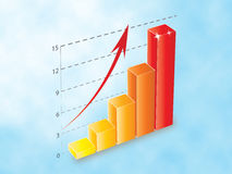 3D Ascendent bar chart Stock Photo