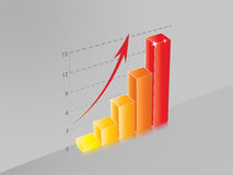 3D Ascendent bar chart Royalty Free Stock Images