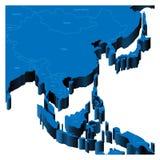 3d Asia wschodni mapy południe Obraz Stock