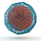 3d atom. With a crystal lattice on white Royalty Free Stock Photography