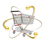 3d Atomic power of online shopping cart icon Royalty Free Stock Photo