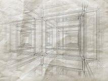 3d a attaché des lignes de construction sur le vieux papier gris Photos stock
