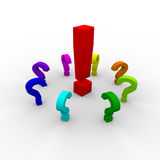 3D attention and question marks Royalty Free Stock Photo