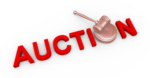 3d auction and gavel. 3d render of wooden gavel and word red auction Royalty Free Stock Photography