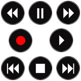 3D Audio Buttons. Isolated in white Royalty Free Stock Photos