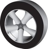 3D auto wheel and tire. Three dimensional illustration of an auto tire and wheel.  White background Stock Images