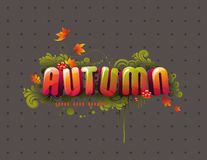 3d autumn headline. Colorful autumn 3D headline with flying leaves, swirls and berries Royalty Free Stock Photo