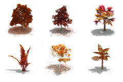 3d autumn trees pack with shadows Stock Photos