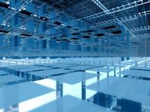 3d azul aglomera a arquitetura ilustração stock