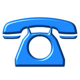 3D Azure Telephone. Isolated in white Royalty Free Stock Photo