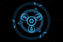 3d błękitny przekładni planetarny przejrzysty xray Obrazy Royalty Free