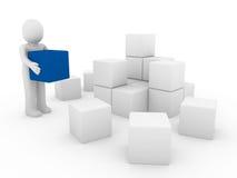 3d błękitny pudełka sześcianu ludzki biel Obrazy Stock