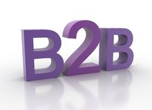 3d b2b在紫色拼写上写字 免版税库存图片