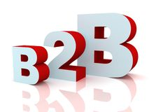 3d b2b red and blue letters on white background. 3d Royalty Free Stock Photos