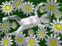 3D baby in flowers. 3D image of a newborn baby surrounded by camomiles Royalty Free Stock Photography