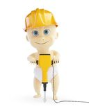3d baby jackhammer construction helmet. On a white background Stock Photo