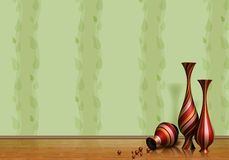 3D background with jars. On the floor Royalty Free Stock Photo