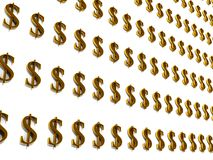 3D background with many golden dollar symbols Stock Image