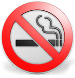 3D badge with a no smoking sign. High detailled computer generated 3D badge with a no smoking sign Royalty Free Stock Image
