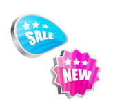 3d badges and stickers. Glossy 3d badges and stickers Royalty Free Stock Photo