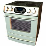 3D baksel-Oven en Fornuis Stock Afbeeldingen