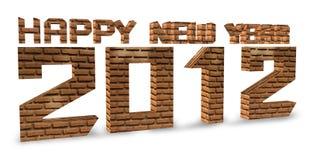 3D baksteen geeft Gelukkig nieuw jaar 2012 op een wit terug. Stock Afbeelding