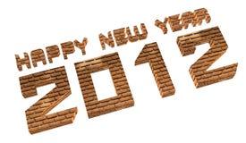 3D baksteen geeft Gelukkig nieuw jaar 2012 op een wit terug. Stock Afbeeldingen