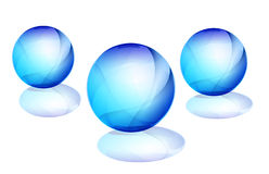 3D ball. Drawing of blue ball button in a white background Stock Photo