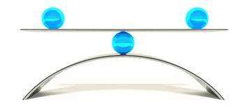 3d ball balance, concept of equilibrium. And stability Royalty Free Stock Photography