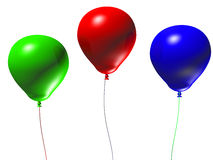 3d Balloons. Three 3d balloons isolated on a white background Stock Images