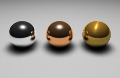 3d balls. Silver, bronze and gold 3d balls Royalty Free Stock Photography