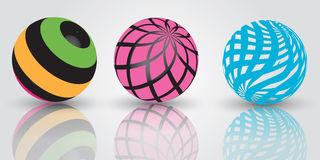 3d balls. Three spheres 3d design clipart illustration Royalty Free Stock Photo