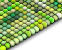 3d balls in multiple bright green. Isometric 3d render of balls in multiple bright green Royalty Free Stock Image