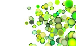 3d balls in multiple shades of green. 3d render strings of balls in multiple shades of green Stock Image
