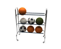 3D balls rack. 3D render of football medical balls and volleyballs rack isolated on white background Royalty Free Stock Images