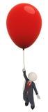 3d balonowa biznesowa latania mężczyzna jeden czerwień Obrazy Royalty Free