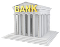 3d bank building with golden sign. On white background Royalty Free Stock Photography