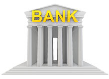 3d bank building with golden sign. On white background Royalty Free Stock Image
