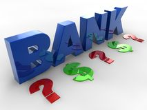 3D Bank text. Bank 3d dollars and question mark sign Stock Image