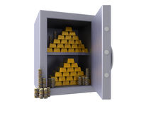 3D bank vault with gold bars & coins. 3D render of an open bank vault revealing shiny stacked gold bars and stacked coins Stock Image