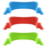 3D banners. Collection of 3D ribbon banners, in blue, red and green on isolated background Stock Images