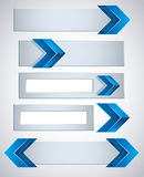 3d banners with blue arrows. 3d banners finished with blue arrows, contain copy spaces for your text . Vector modern style design elements collection Royalty Free Stock Image