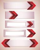 3d banners met rode pijlen. Stock Foto's