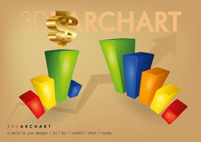 3D Bar CHart. A 3 dimensions colorful bar chart with the golden dollar sign up top Royalty Free Stock Images