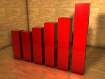 3d bar chart. 3d red business bar chart Stock Images