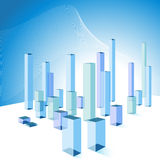 3D Bar Chart City Background. An image of a 3d bard chart city background Stock Photos