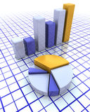 3D bar chart and pie chart Stock Images