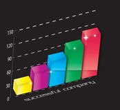 3d bar graph. An illustration of a bar graph with shiny stars Stock Photo