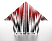 3D barcode arrow pointing up. 3D barcode arrow shaped pointing up Royalty Free Stock Photos